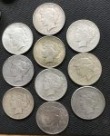 Peace Silver Dollars 10 Different F-AU Condition